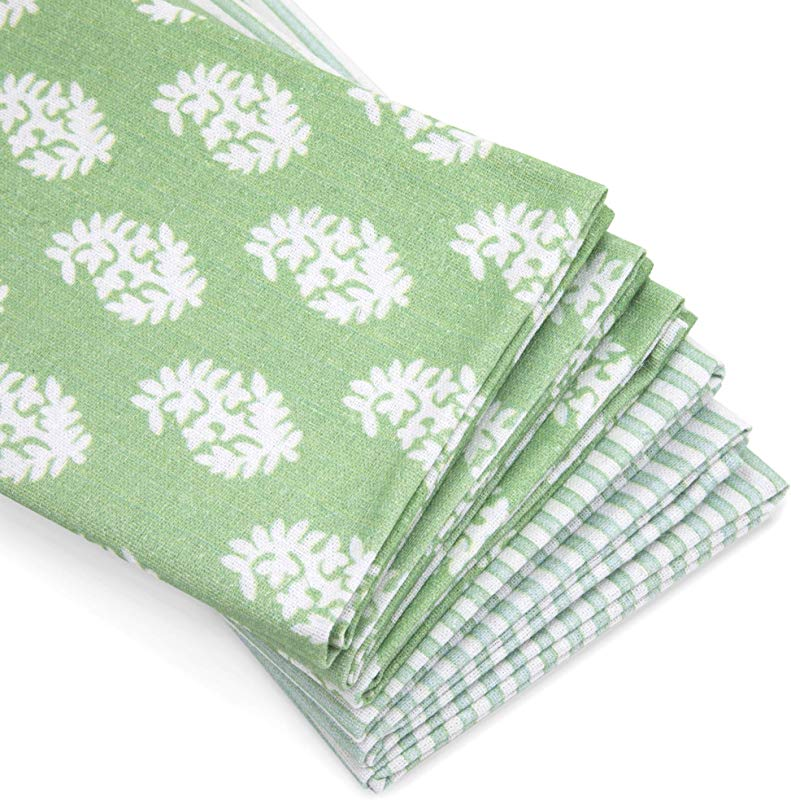 Abelia Collective Kitchen Dish Towels Set Of 6 100 Organic Linen And Cotton Interior Design Inspired Striped And Geometric Pattern Green Large Absorbent Dish Cloth