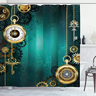 Ambesonne Industrial Shower Curtain, Antique Items Watches Keys and Chains with Steampunk Influences Illustration, Cloth Fabric Bathroom Decor Set with Hooks, 70