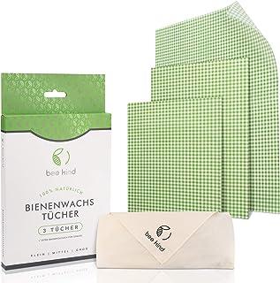 bee kind Bio Bienenwachstücher grün 4er Set - inkl. Baumwolltuch für Gemüse - Wiederverwendbare Wachstücher von Manuka Honig - Wachspapier für Lebensmittel