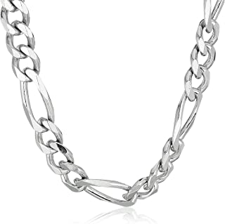 Men's Sterling Silver Italian Solid Figaro Link-Chain...