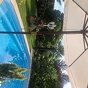 Deuba Sombrilla Negra con mástil de Madera en 2 Partes Ø 330cm Impermeable protección UV jardín Playa