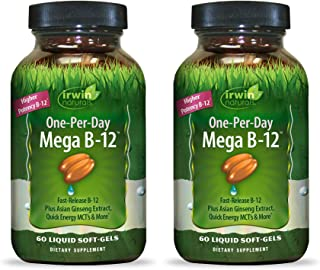 Irwin Naturals Quick-Release B-12 Extra 3,000mcg High Potency Methylcobalamin Vitamin - Fast Enhanced Absorption with MCT ...