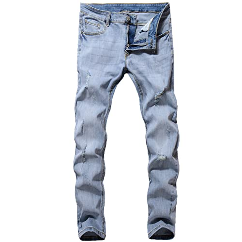 42aad1da436 ZLZ Men s Ripped Skinny Distressed Destroyed Slim Fit Stretch Biker Jeans  Pants with Holes
