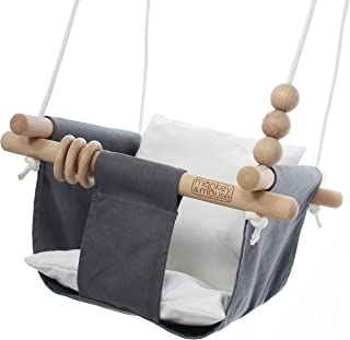 Monkey & Mouse Secure Canvas and Wooden Hanging Swing Seat Chair with Baby, Infant, Toddler, Kids Toys - Indoor and Outdoor Hammock, for Tree Swings or Backyard Outside Swing Set Use