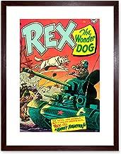 The Art Stop Comic REX Wonder Dog Tank Soldier Gun Battle USA Framed Print F12X3058