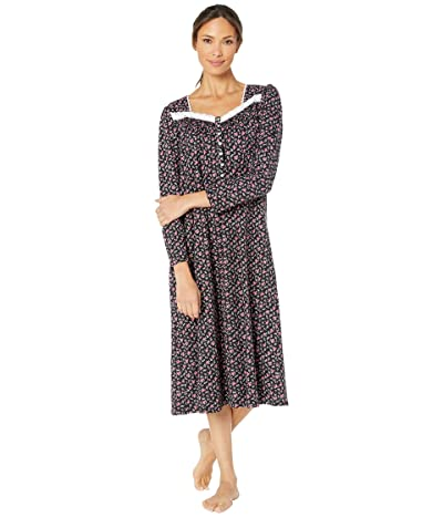 Eileen West Cotton Peached Jersey Knit Long Sleeve Ballet Nightgown (Black Ground/Multi Buds and Berries) Women