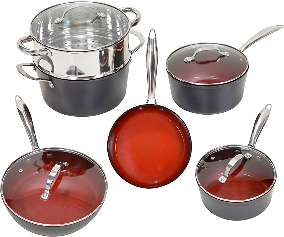 Fire Earth 10 Piece ALL In One Cookware Set With Non Stick Ceramic Coating Induction Heat Included Fry Skillet Saute Pans Stock Pot Glass Lids Steamer Insert Saucepan 10 Pcs Fire Earth