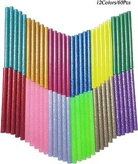 Glitter Hot Glue Sticks Baffo 60PCS 12 Colors Hot Melt Glue Gun Sticks Mini Colored Hot Adhesive Glue Sticks for DIY Art Craft General Repairs and Gluing Projects Diameter 0.28 inch Length 3.9 inch