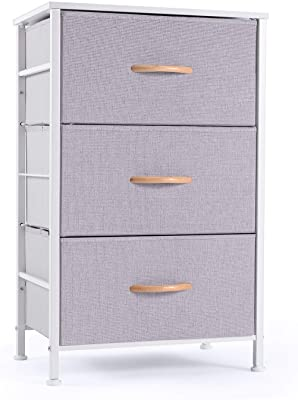 ROMOON Nightstand Chest with 3 Fabric Drawers, Bedside Furniture, Lightweight Accent Table, Storage Drawer Unit with Wood Top Fabric Bins for Bedroom, Hallway, Entryway, Closets,Nursery - Gray