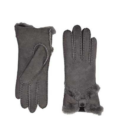 UGG Water Resistant Sheepskin Turned Bow Gloves (Charcoal) Extreme Cold Weather Gloves