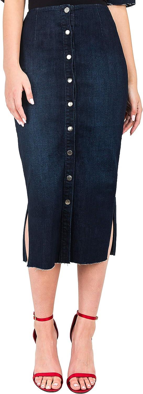 Standards & Practices Modern Women's Snap Button Frayed Hem Midi Pencil Skirt