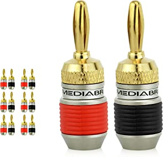 Mediabridge Banana Plugs - Corrosion-Resistant 24K Gold-Plated Connectors - 6 Pair/12 Banana Plugs (Part# SPC-BP2-6)