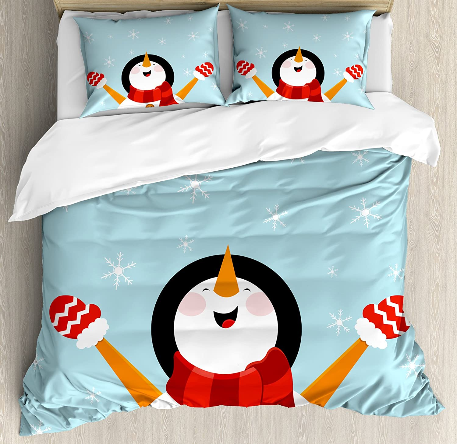 Ambesonne Christmas Duvet Cover Set Smiling with Happy New item Snowman Max 63% OFF