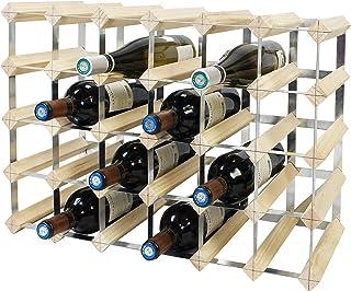 Todeco - Etagère à Vin, Range-Bouteilles, Cave à vin modulable, Casier à Bouteille, 30 Bottles, Bois Naturel, 61,2 x 42 x ...