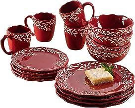 American Atelier - Vajilla redonda de 16 piezas de cerámica con 4 platos de ensalada, 4 cuencos y 4 tazas, idea de regalo ...