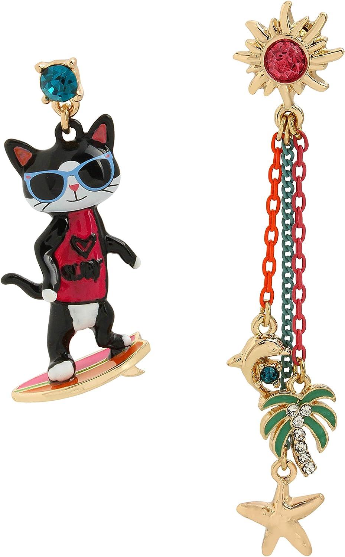 Betsey Johnson Surfing Cat Mismatch Earrings