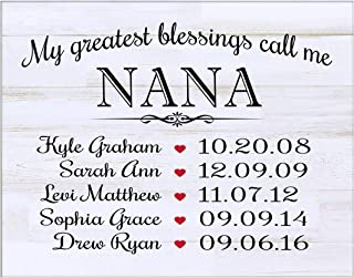 LifeSong Milestones Personalized Gifts for Nana Wall Plaque Sign with Children's Names Birth Dates to Remember My Greatest Blessings Call me Nana (White Distressed)
