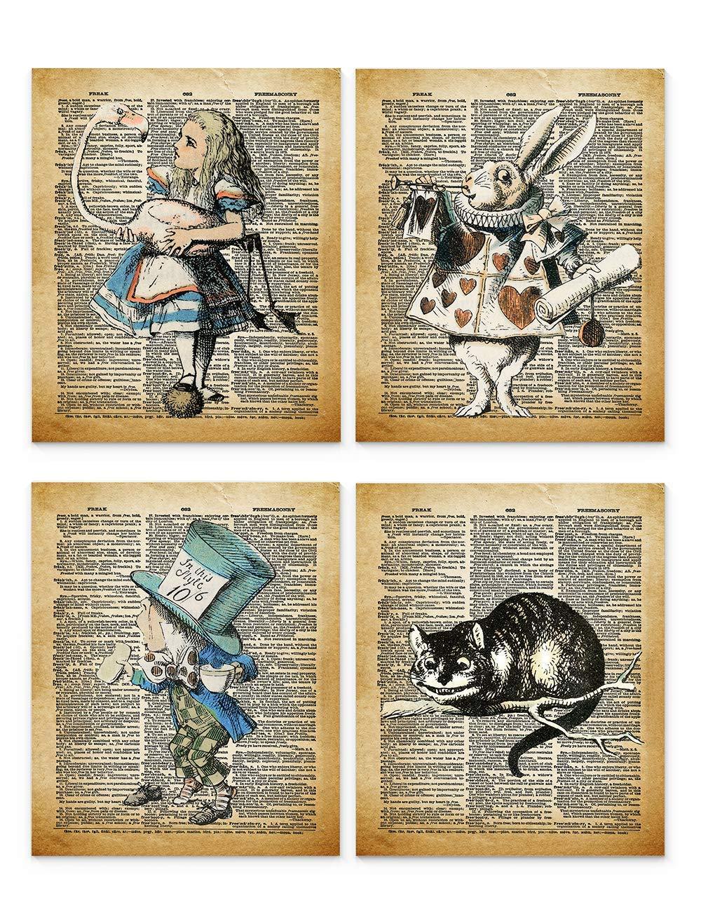 Alice in Wonderland Genuine Wall Art 8x10 Set Framed Decor of Prin Un 4 Surprise price