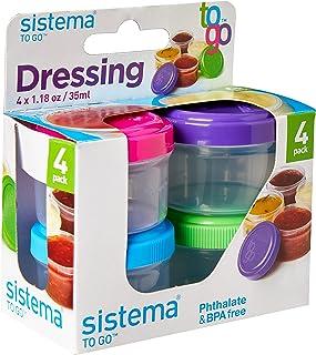 Sistema 21470 Garnki do dressingów TO GO | Pojemnik na żywność Garnki do sosów z pokrywkami | 35 ml | Nie zawiera BPA | Ni...