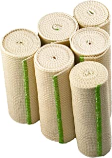 """NexSkin Elastic Compression Wrap (6"""" Wide, 6 Pack) with Hook and Loop Fasteners at Both Ends 