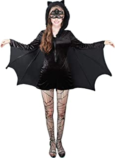 3 Pieces Halloween Women's Black Bat Zipper Dress Lace Mask Spiderweb Tights for Costume Accessory