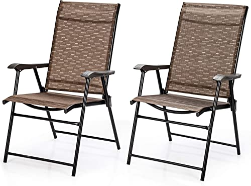 wholesale Giantex 2-Pack Patio Dining Chairs, Portable Folding Chairs, Camping Chair with Armrest, Outdoor Dining 2021 Chairs for Bistro, Deck, Backyard 2021 (2) outlet sale