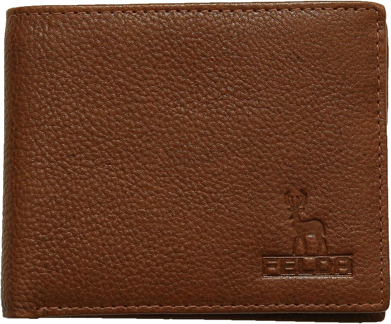 全国どこでも送料無料 Felda セールSALE%OFF Men's RFID Blocking Quality Brown Coin Leather C Genuine