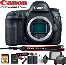 Canon EOS 5D Mark IV DSLR Camera (International Model) (1483C002) W/Bag, Extra Battery, LED Light, Mic, Filters and More - Advanced Bundle