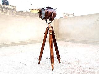 Lámpara de pie de cobre hecha a mano con trípode de madera portátil de iluminación de oficina decoración marina baja lámpara de pie luz de búsqueda decoración del hogar