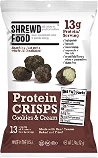 Shrewd Food Cookies and Cream Protein Crisps 8 Pack | High Protein, Low Carb, Gluten Free Snacks | No Artificial Flavors | Soy Free, Peanut Free
