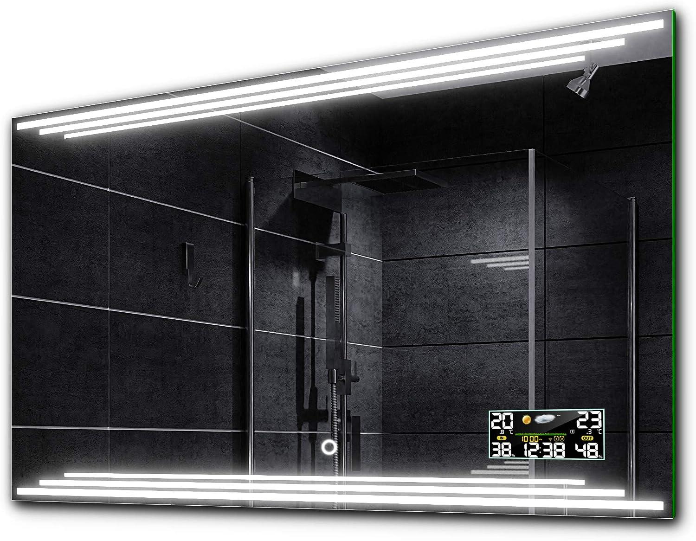 Alasta BIRMA Badspiegel mit LED Beleuchtung und Zubehr - Auswahl von Schalter LED Uhr Heizmatte Nach Ma  Beleuchtet Wandspiegel Lichtspiegel - LED Farbe Kaltwei Warmwei