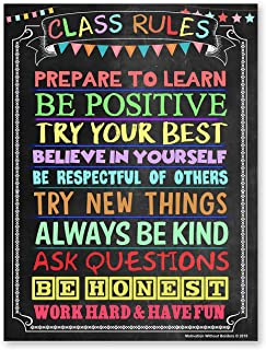 Classroom Rules Poster (LAMINATED 18X24) Motivational Poster ideal for High School Classroom, Middle School Classroom or E...