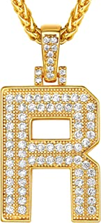 Suplight Bling Bling A-Z Letter Pendant Necklace, Cubic Zirconia CZ Pave Alphabet Initial Pendant with Stainless Steel Spi...