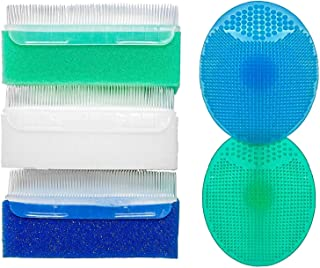 Baby Brush and Sponge for Bathing, Silicone Massage Combs for Scalp (5-pack)