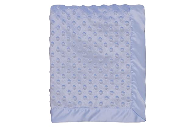 Toddler Blankets Baby Starters Textured Dot With Satin Trim Blue