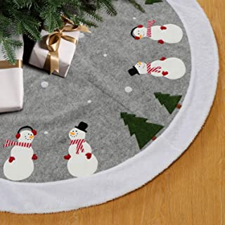 HAUMENLY Snowy Winter Scene Christmas Tree Skirt, Grey Felt Fabric with White Fax Fur Edge, Xmas Holiday Decoration – 48 Inches