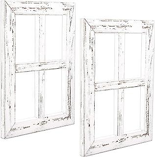Ilyapa Window Frame Wall Decor 2 Pack – Rustic White Wood Window Pane Country..
