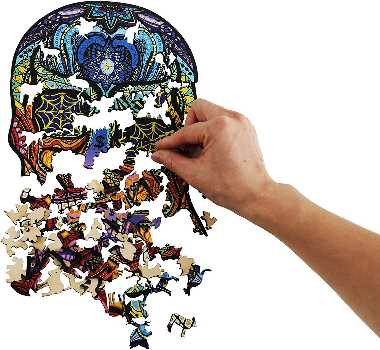 Ymlike Skull Jigsaw Puzzles Gifts for Adults Kids Skull 180 Pieces 11.4 /× 7.8 in M Wooden Animal Shaped Family Game Puzzles Ymlike Wooden Puzzles for Adults