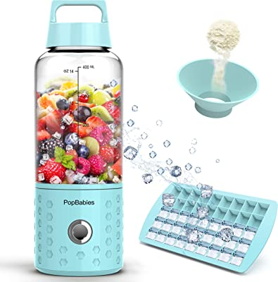 PopBabies Personl Blender, Smoothie Blender for Single Served, USB Rechargeable Portable Blender for Shakes and Smoothies, Stronger and Faster with Ice Tray Funnel Recipe, Carolina Blue(FDA BPA Free)