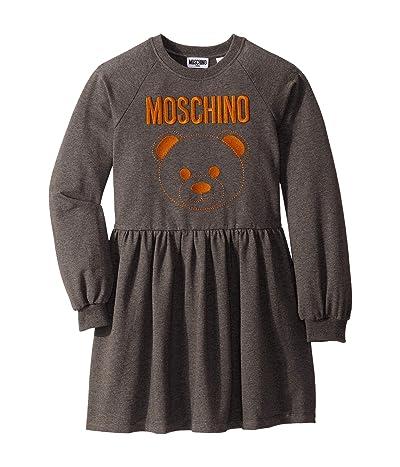 Moschino Kids Dress w/ Embroidered Toy Bear (Big Kids) (Grey) Girl