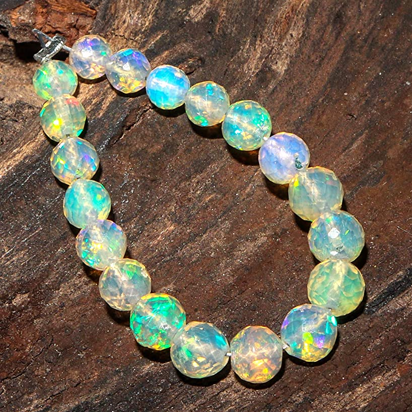 Jaguar Gems 3.75cts AAA Ethiopian Welo Opal Stone Beads Supply Pendant Necklace Bracelet Jewelry Making Project Crystals Natural Handcrafted Loose Gemstones Drop Style Mini Mala Strand 15+ Round Bead