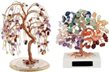 "Jovivi Bundle - 2 Items 7 Chakra Crystals Quartz Tree Tumbled Gemstone Stones Money Tree + 3.54""-4.7"" Mini Natural 7 Chakra Healing Crystals Money Tree"