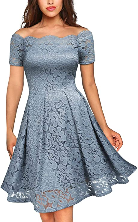 Vintage Floral Lace 3/4 Sleeve Boat Neck Swing Dress, Lace Dresses for Women