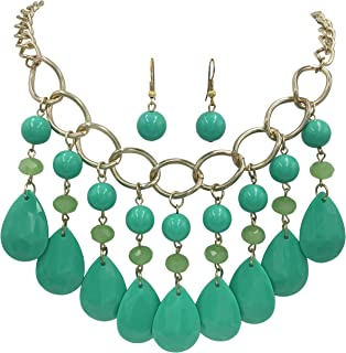 Gypsy Jewels Bright Color Bead Drop Chunky Statement Gold Tone Chain Necklace & Dangle Earrings Set