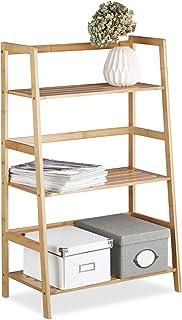 Relaxdays Etagère sur pied en bambou 3 étages bibliothèque livres déco 3 niveaux HxlxP: 91 x 57 x 32 cm salle de bain salo...