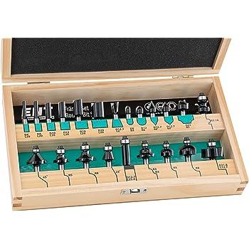 Juego de 22 piezas ENT de fresas en estuche de madera - Eje Ø8 mm: Amazon.es: Bricolaje y herramientas