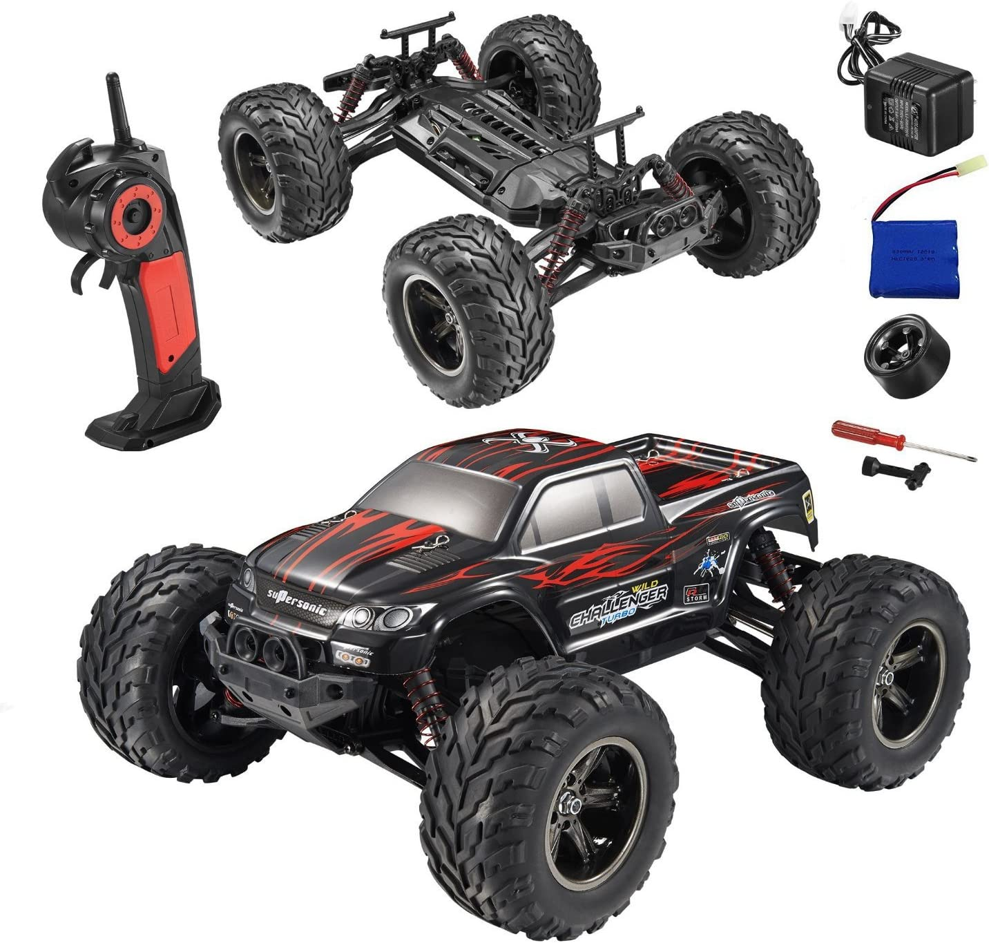 1/12 Scale 2.4Ghz Radio Remote Control 2WD Off Road Monster Truck 42+kmh R/C RTR (Red)
