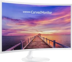 white curved monitor
