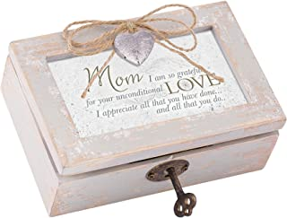 Mom Grateful for Love Distressed Wood Locket Jewelry Music Box Plays Tune Wind Beneath My Wings