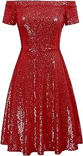 Women Sequin Bridesmaid Short Sleeve Strapless Ruched Evening Dress